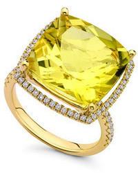 Kiki McDonough Grace Lemon Quartz Diamond 18k Gold Ring