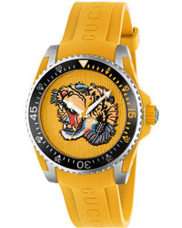 Gucci 40mm Dive Tiger Watch W Rubber Strap Yellow