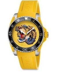 Gucci Dive Stainless Steel Yellow Rubber Strap Watch