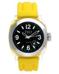 Tko Orlogi Unisex Tk508 By Milano Plastic Case And Yellow Rubber Strap Watch