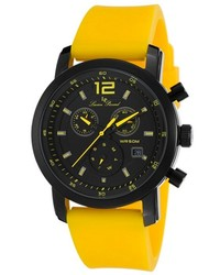 Lucien Piccard Toules Chronograph Black Dial Yellow Rubber