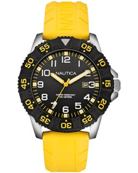 Nautica Yellow Rubber Strap Watch 45mm N12642g