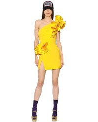 Dsquared2 One Shoulder Ruffled Stretch Crepe Dress