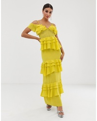 Forever U Tiered Maxi Dress Ling In Yellow