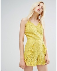 J.o.a. Joa Cami Strap Romper In Delicate Lace With Ruffle Detail