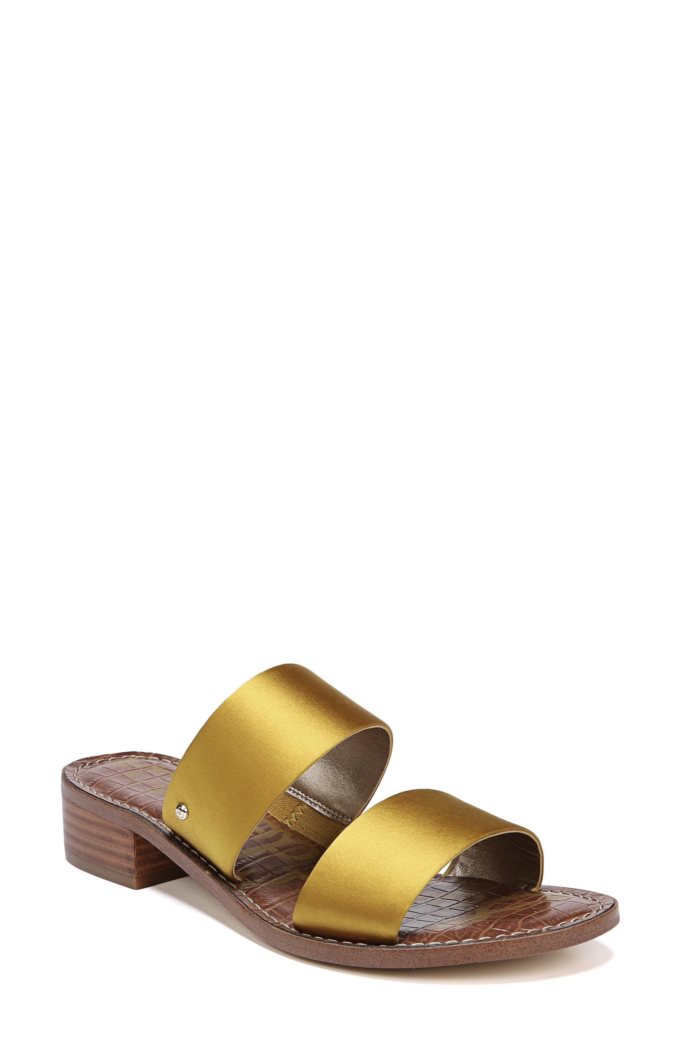 cf05b914403 Jeni Sandal. Yellow Satin Heeled Sandals by Sam Edelman
