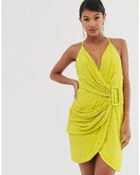 ASOS DESIGN All Over Sequin Drape Mini Dress With Horn