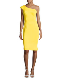 One shoulder scuba cocktail dress yellow medium 3665457