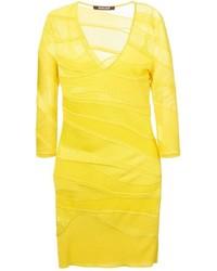 Roberto Cavalli V Neck Fitted Knit Dress