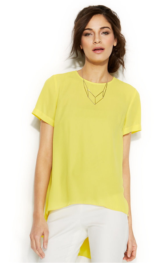 Vince Camuto Short Sleeve High Low Blouse Where To Buy How To Wear