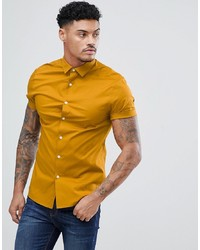 ASOS DESIGN Skinny Shirt In Mustard With Short Sleeves