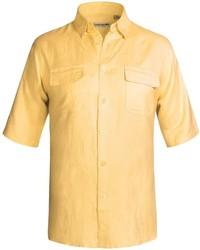 Specially Made Solid Linen Blend Shirt Short Sleeve