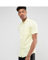 ASOS DESIGN Tall Regular Fit Textured Shirt In Yellow