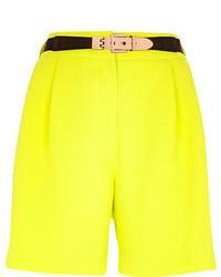 River Island Bright Yellow Long Smart Shorts