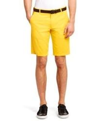 Hugo Boss Hano Regular Fit Cotton Shorts 34r Yellow
