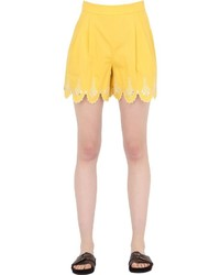 Temperley london embroidered cotton poplin shorts medium 716905