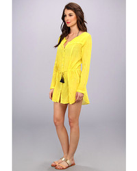 62d832ba5784b ... Vix Swimwear Vix Sofia By Vix Solid Yellow Naya Chemise Dress Cover Up  ...