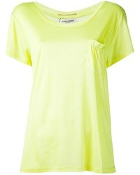 Yellow Silk Short Sleeve Blouse