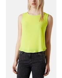 Yellow Silk Sleeveless Top