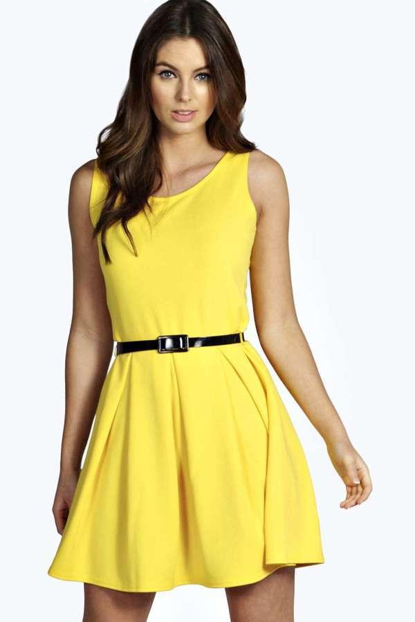 ... Yellow Skater Dresses Boohoo Julia Box Pleat Sleeveless Skater Dress ... 277d45752