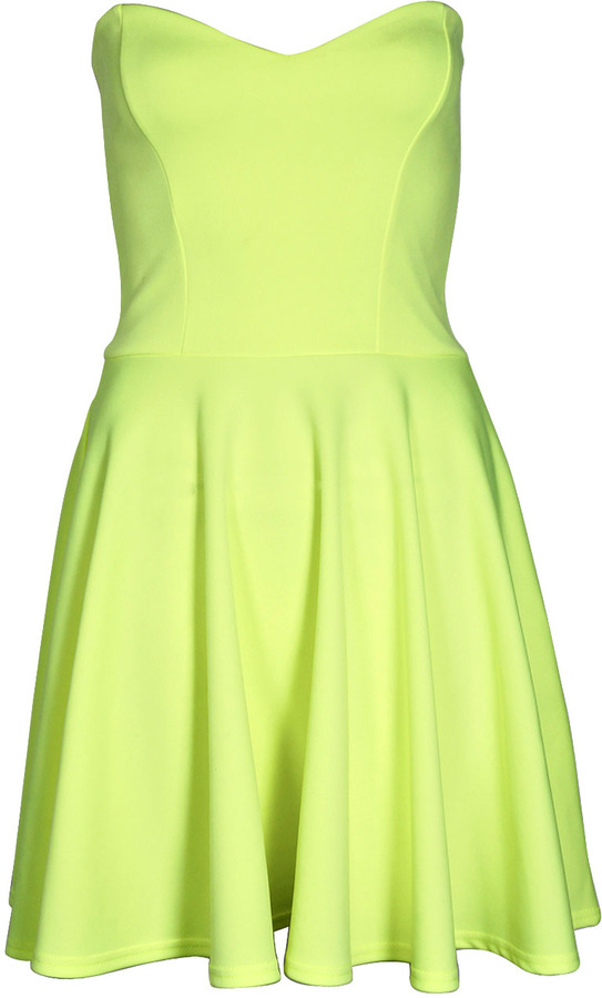 8fecfb07bc6a Boohoo Penny Neon Bandeau Skater Dress, $40 | BooHoo | Lookastic.com