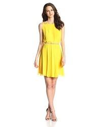 Jessica Simpson Pleated Chiffon Dress