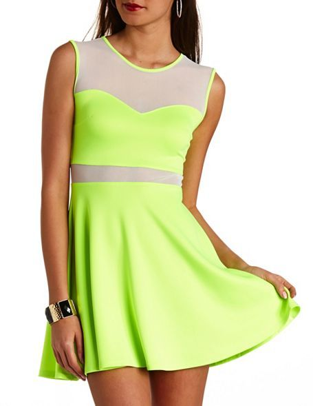 3a557eccad90 ... Charlotte Russe Mesh Cut Out Neon Skater Dress ...