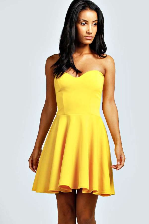 research strapless skater dress yellow