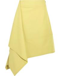 Marni Asymmetric Paneled Twill Skirt Yellow