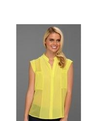 BCBGMAXAZRIA Addison Silk Sleeveless Blouse Blouse