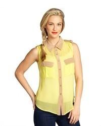 Lime and taupe silk chiffon elisa sleeveless shirt medium 73672