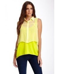 Qi Silk Blend Combo Sleeveless Shirt