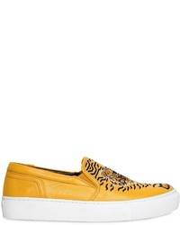 Kenzo 20mm Geo Tiger Leather Slip On Sneakers