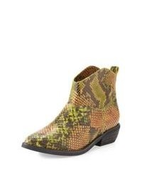 Yellow Snake Leather Ankle Boots