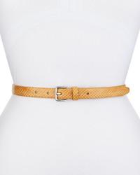 Snake embossed leather logo belt nude medium 225592