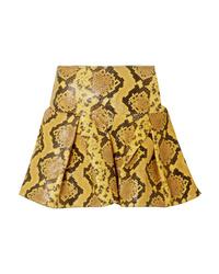 MARQUES ALMEIDA Pleated Snake Effect Leather Mini Skirt