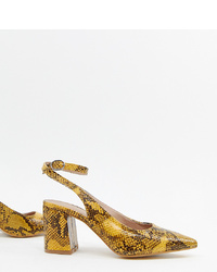 New Look Slingback Block Heeled Shoes In Snake Print