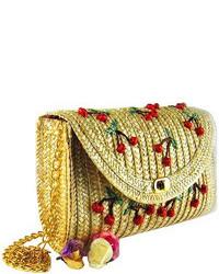 Rural style cherry and banana pattern straw bag medium 72962