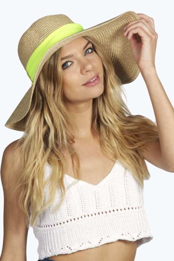 e8767a4a Boohoo Amber Neon Ribbon Trim Straw Floppy Hat, $22 | BooHoo ...