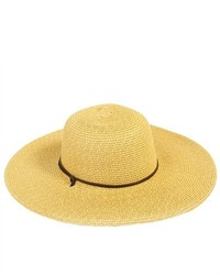 PDS Online Large Straw Stripe Sun Hat With Leather Trim Strap