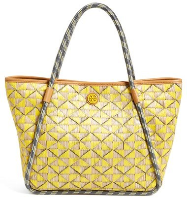 049189519a2 ... Bags Tory Burch Small Mosaic Straw Tote ...