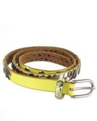 Yellow Studded Leather Belt