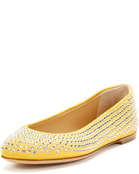 Yellow Suede Ballerina Shoes