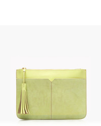 J.Crew Suede And Leather Tassel Clutch