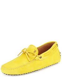 Tod's Suede Tie Driver Yellow