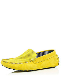 River Island Yellow Suede Driving Shoes