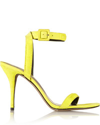 Yellow Suede Heeled Sandals