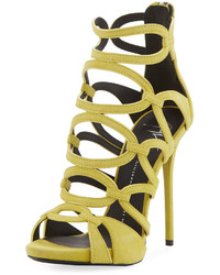 Caged suede dress sandal limone medium 3705016