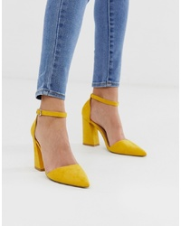 Glamorous Pointed Heeled Shoes In Bright Yellow