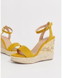 New Look Py Espadrille Wedge Sandal In Dark Yellow